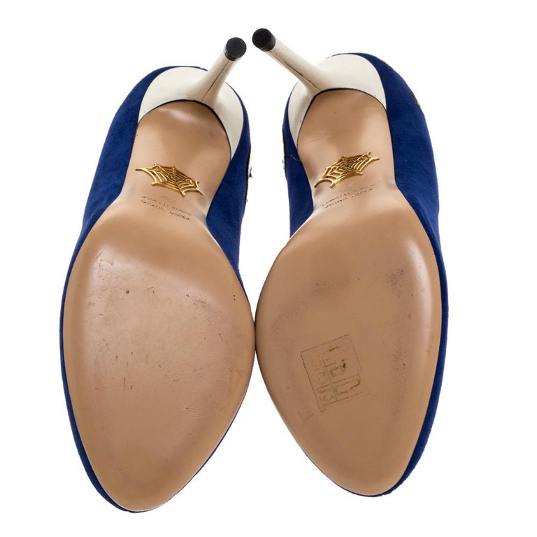 Charlotte Olympia Blue Suede Archie Comic Peep Toe Pumps Size 37 For Sale 2