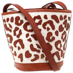 Charlotte Olympia Brown/Beige Canvas and Leather Empire Bucket Bag