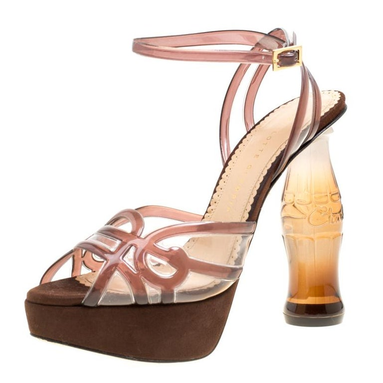 949c74ebf7d Charlotte Olympia Brown Jelly Soda Cola Heel Ankle Wrap Platform Sandals  Size 39