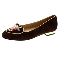 Charlotte Olympia Brown Suede Taurus Smoking Slippers Size 35.5