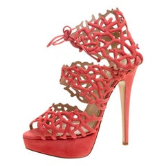 Charlotte Olympia Coral Laser Cut Suede Goodness Reef Platform Sandals  Size 39