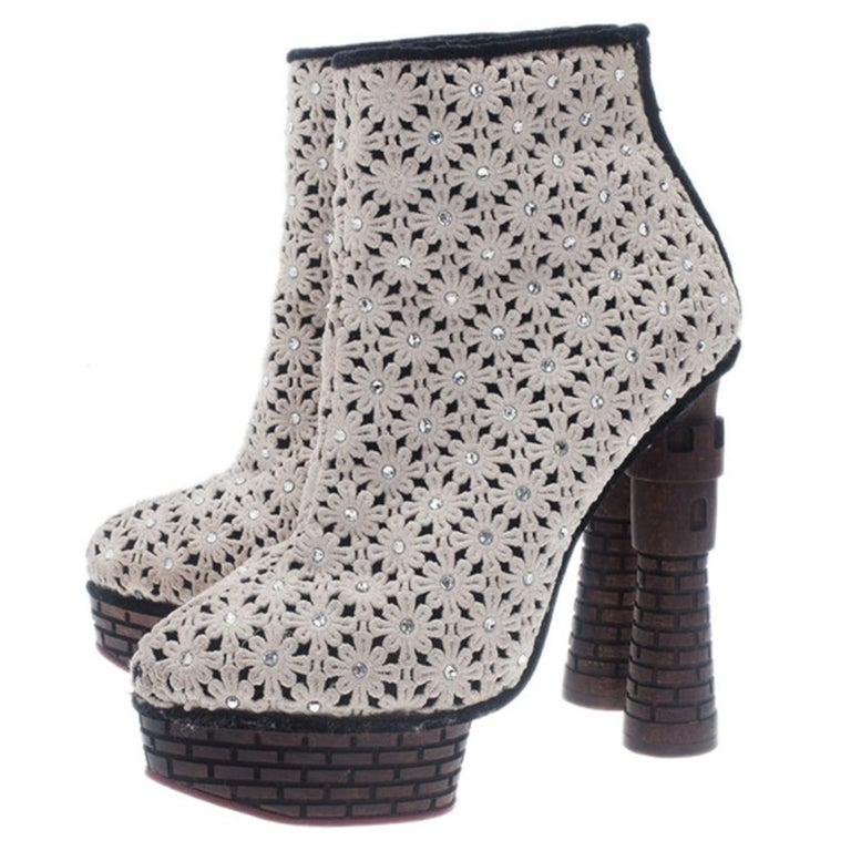 Charlotte Olympia Cream Damsel In Distress Crocheted Ankle Boots Size 36.5 For Sale 6