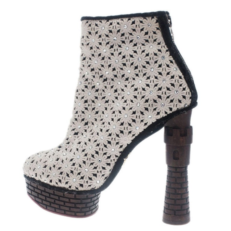 Charlotte Olympia Cream Damsel In Distress Crocheted Ankle Boots Size 36.5 For Sale 1
