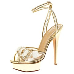 Charlotte Olympia Gold Leather and PVC She Sells Sea Shells Ankle Wrap Platform