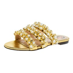 Charlotte Olympia Gold Leather Celina Pearl Embellished Slide Sandals Size 35