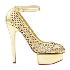 CHARLOTTE OLYMPIA gold leather cut out almond toe platform ankle strap pump EU37