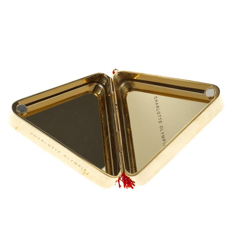 Charlotte Olympia Gold Metal Nacho Clutch For Sale 3