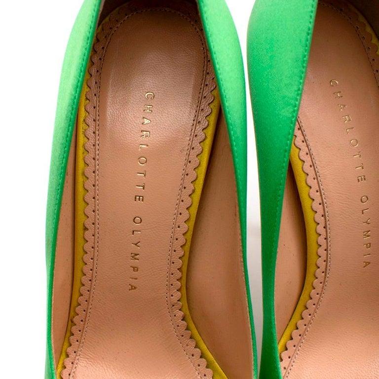 Charlotte Olympia Green Neon Satin Heart Platform Heels US10 For Sale 2