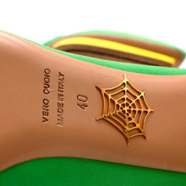 Charlotte Olympia Green Neon Satin Heart Platform Heels US10 For Sale 4