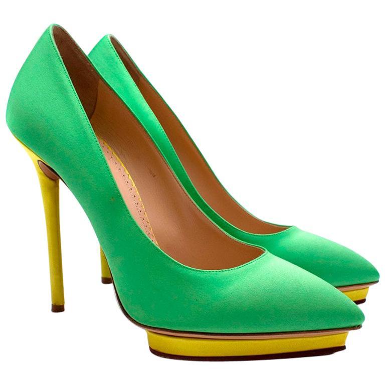 Charlotte Olympia Green Neon Satin Heart Platform Heels US10 For Sale