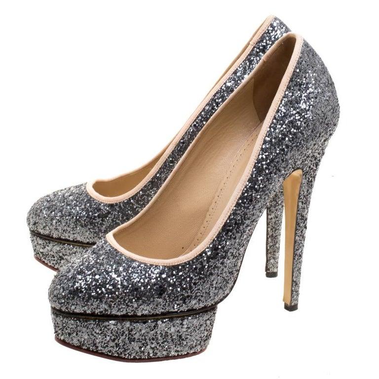 Women's Charlotte Olympia Metallic Glitter Priscilla Platform Pumps Size 41 For Sale