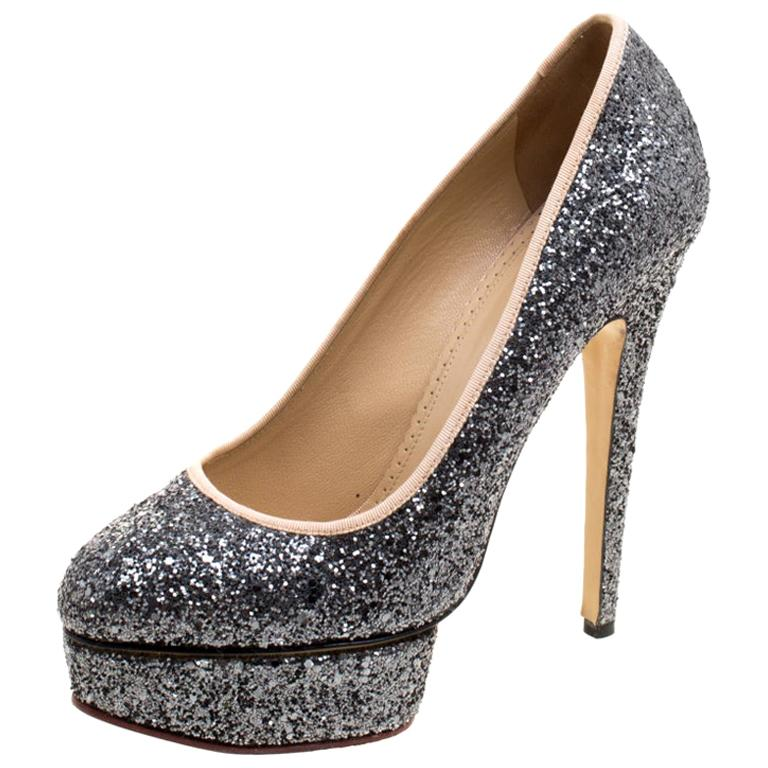 Charlotte Olympia Metallic Glitter Priscilla Platform Pumps Size 41 For Sale