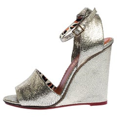 Charlotte Olympia Metallic Gold Crackled Leather Wedge Sandals Size 40
