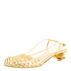 Charlotte Olympia Metallic Gold Leather Shelly Faux Pearl Embellished Heel Sling