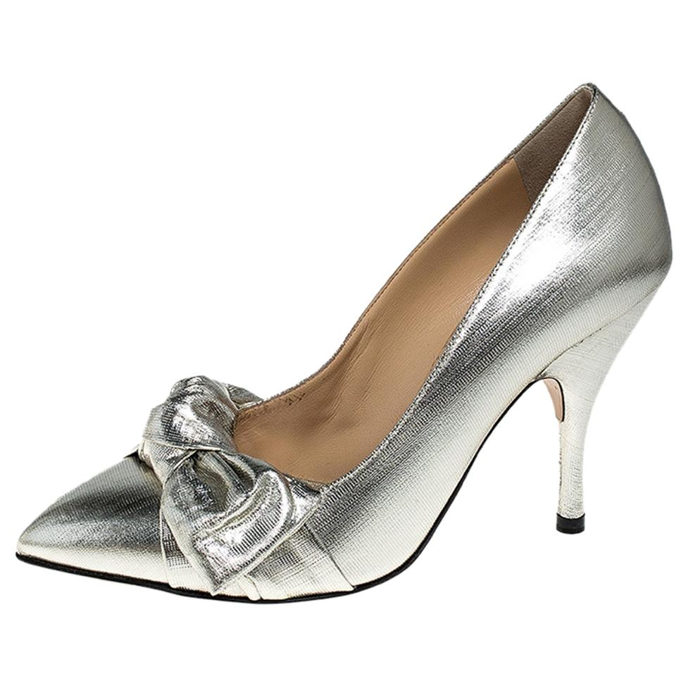 Charlotte Olympia Metallic Lame Fabric Bow Pointed Toe Pumps Size 38