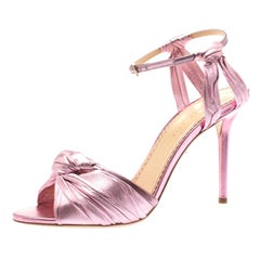 Charlotte Olympia Metallic Pink Ruched Leather Broadway Ankle Strap Sandals Size