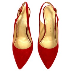 Charlotte Olympia Monroe Slingback Red Suede Pump Heels Size 38