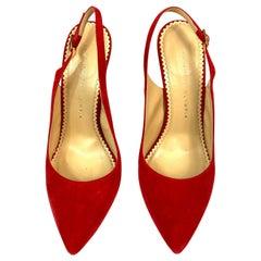 Charlotte Olympia Monroe Slingback Red Suede Pump Heels Size 38
