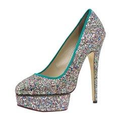 Charlotte Olympia Multicolor Glitter Priscilla Platform Pumps Size 40