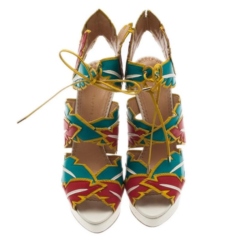 387ea534fd8 Women s Charlotte Olympia Multicolor Leather Cherokee Platform Sandals Size  38 For Sale