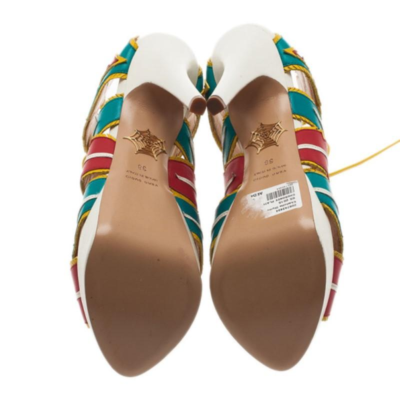 eb0b0205f21 Charlotte Olympia Multicolor Leather Cherokee Platform Sandals Size 38 For Sale  at 1stdibs