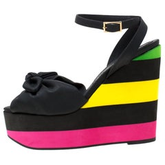 Charlotte Olympia Multicolor PUC Bow Detail Ankle Strap Wedge Sandals Size 38.5