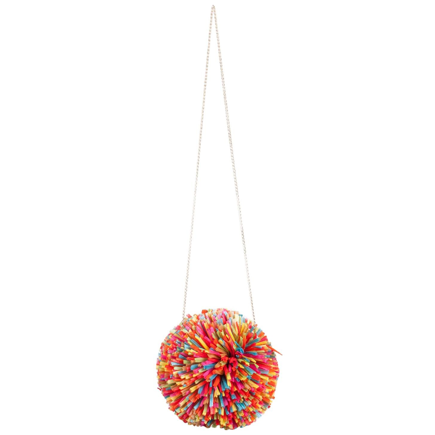 Charlotte Olympia Multicolor Straw and Suede Fiesta Chain Clutch Bag