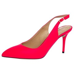 Charlotte Olympia Neon Pink Leather Slingback Court Pumps Size 39
