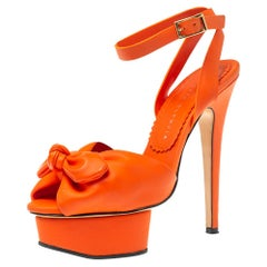 Charlotte Olympia Orange Vinyl Leather Serena Bow Ankle Strap Sandals Size 35.5