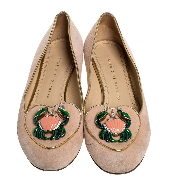 Beige Charlotte Olympia Peach Suede Birthday Zodiac Cancer Ballet Flats Size 40 For Sale