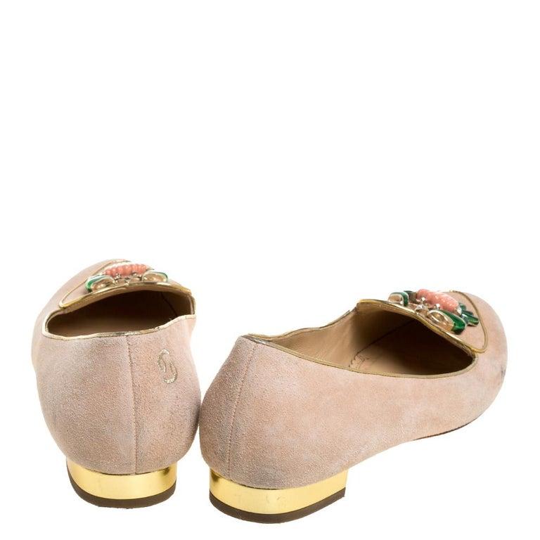 Charlotte Olympia Peach Suede Birthday Zodiac Cancer Ballet Flats Size 40 In Fair Condition For Sale In Dubai, Al Qouz 2