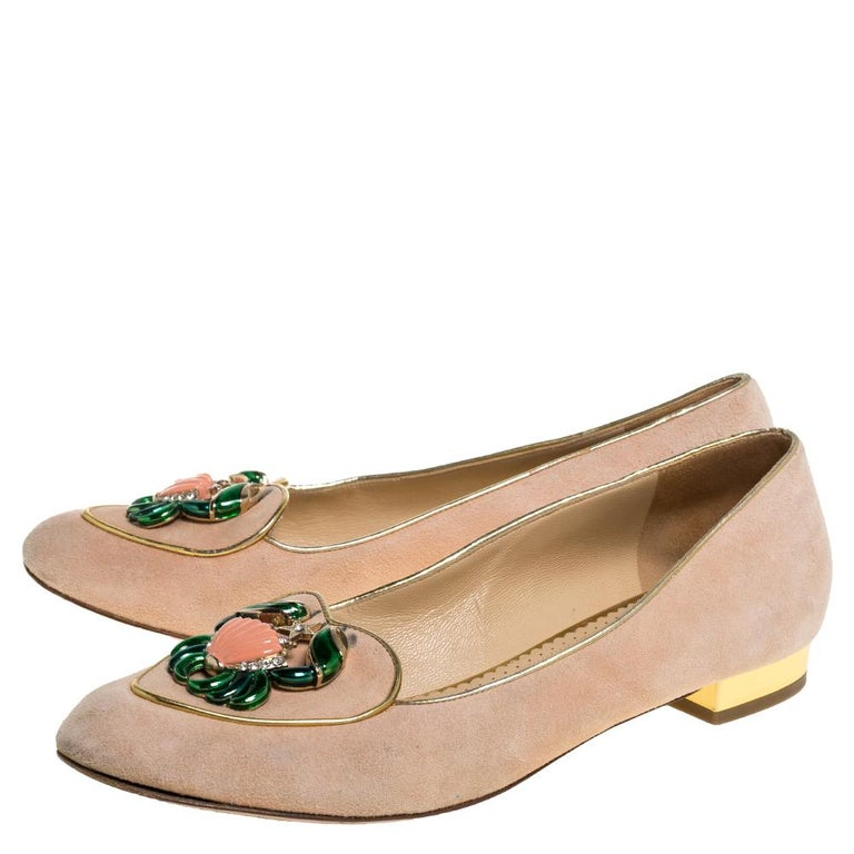 Women's Charlotte Olympia Peach Suede Birthday Zodiac Cancer Ballet Flats Size 40 For Sale
