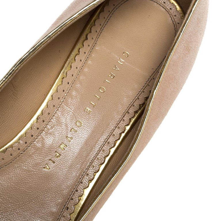 Charlotte Olympia Peach Suede Birthday Zodiac Cancer Ballet Flats Size 40 For Sale 1