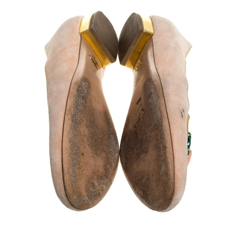 Charlotte Olympia Peach Suede Birthday Zodiac Cancer Ballet Flats Size 40 For Sale 2