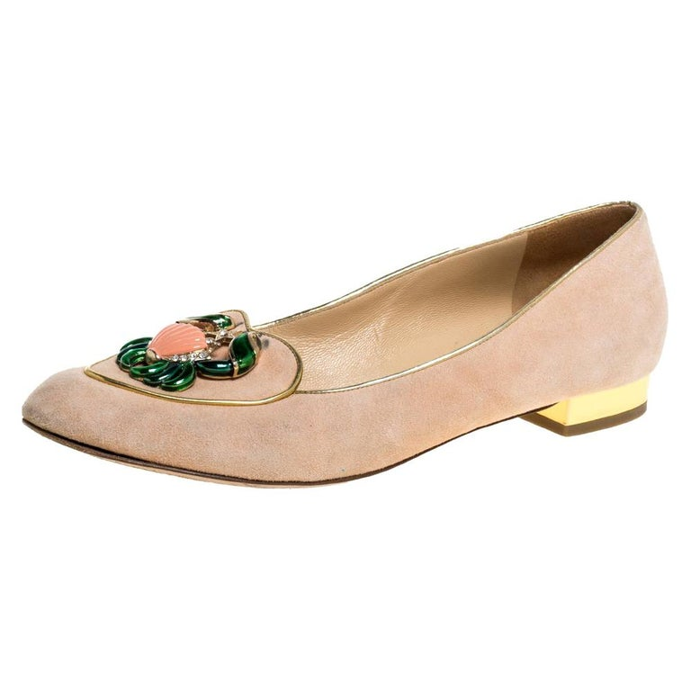Charlotte Olympia Peach Suede Birthday Zodiac Cancer Ballet Flats Size 40 For Sale