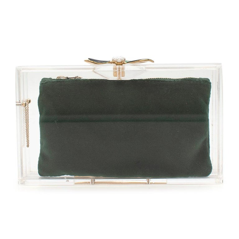 Black Charlotte Olympia Perspex Clutch with Emerald Velvet Pouch