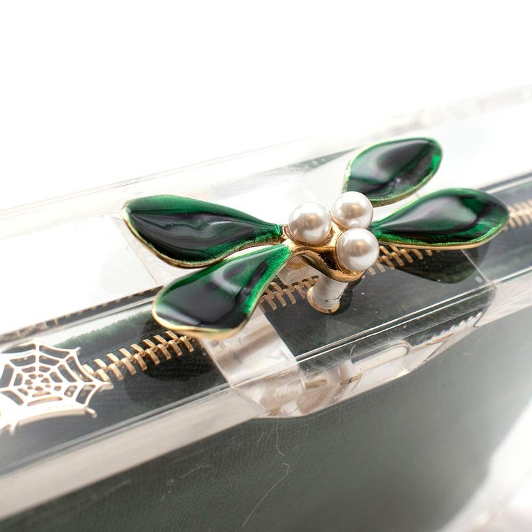 Women's or Men's Charlotte Olympia Perspex Clutch with Emerald Velvet Pouch