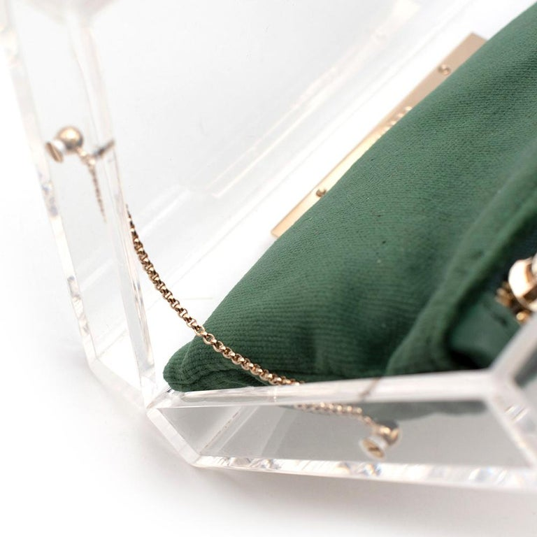Charlotte Olympia Perspex Clutch with Emerald Velvet Pouch 1