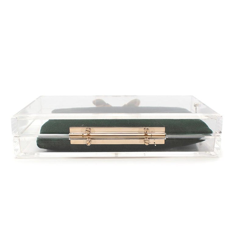 Charlotte Olympia Perspex Clutch with Emerald Velvet Pouch 3