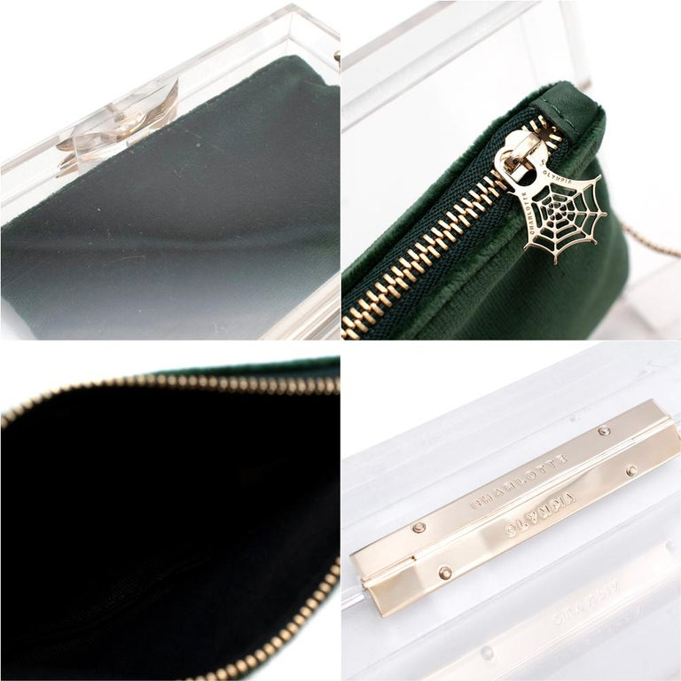 Charlotte Olympia Perspex Clutch with Emerald Velvet Pouch 4