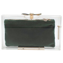 Charlotte Olympia Perspex Clutch with Emerald Velvet Pouch