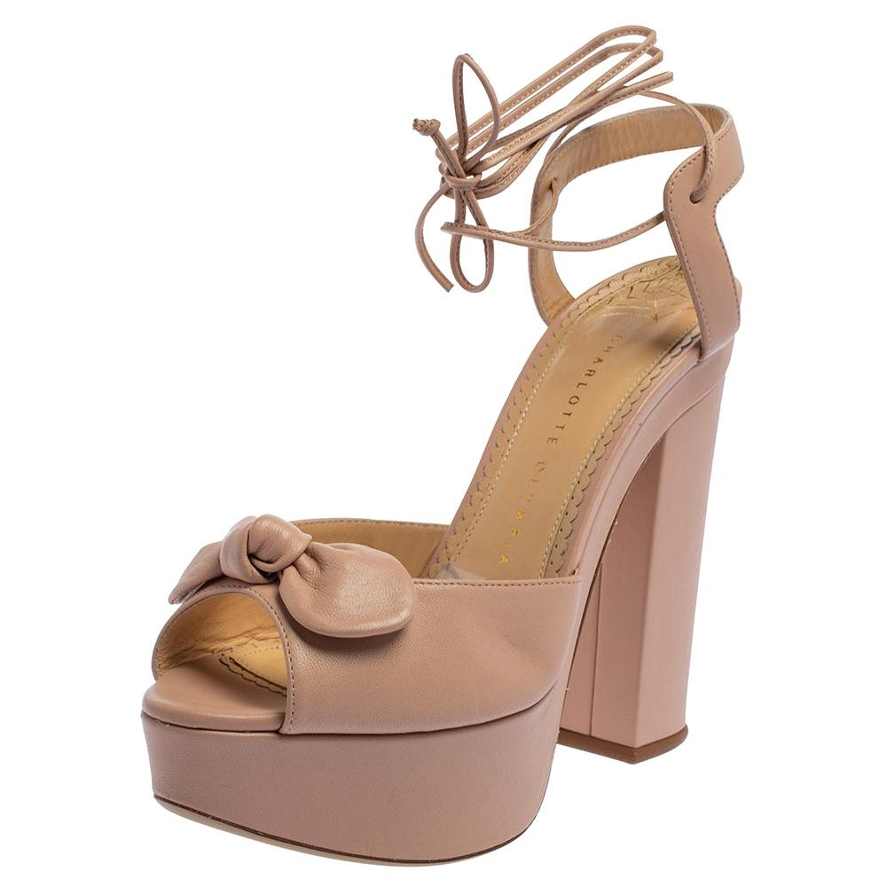 Charlotte Olympia Pink Leather Bow Ankle Tie Up Platform Sandals Size 39.5