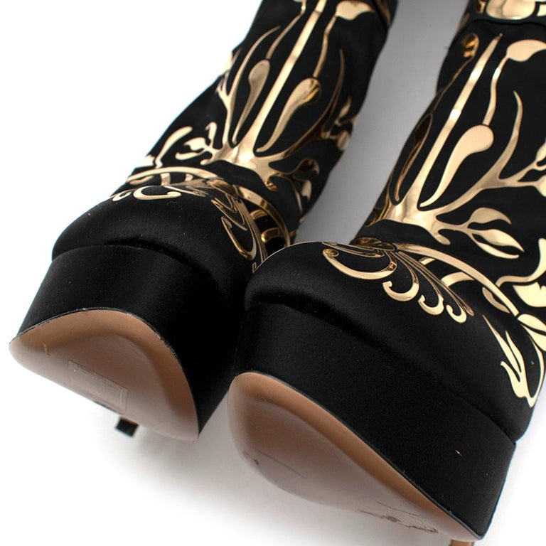 Charlotte Olympia Prosperity Black & Gold Knee High Boots - Size EU 38 For Sale 3