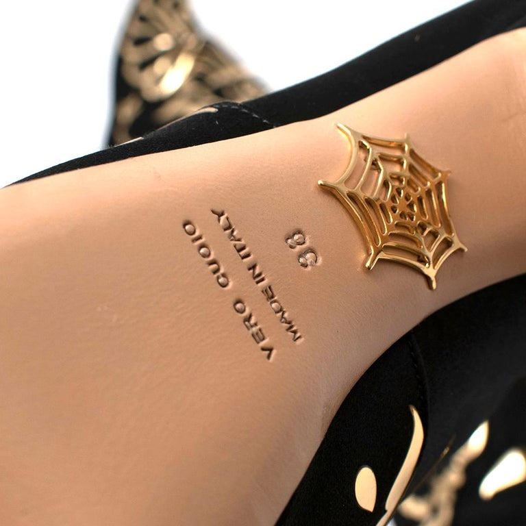 Charlotte Olympia Prosperity Black & Gold Knee High Boots - Size EU 38 For Sale 5