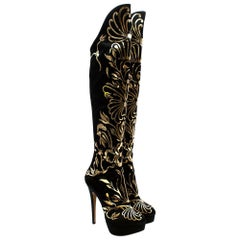 Charlotte Olympia Prosperity Black & Gold Knee High Boots - Size EU 38