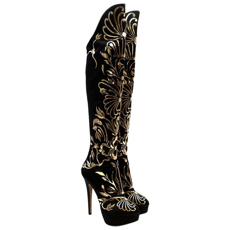 Charlotte Olympia Prosperity Black & Gold Knee High Boots - Size EU 38 For Sale