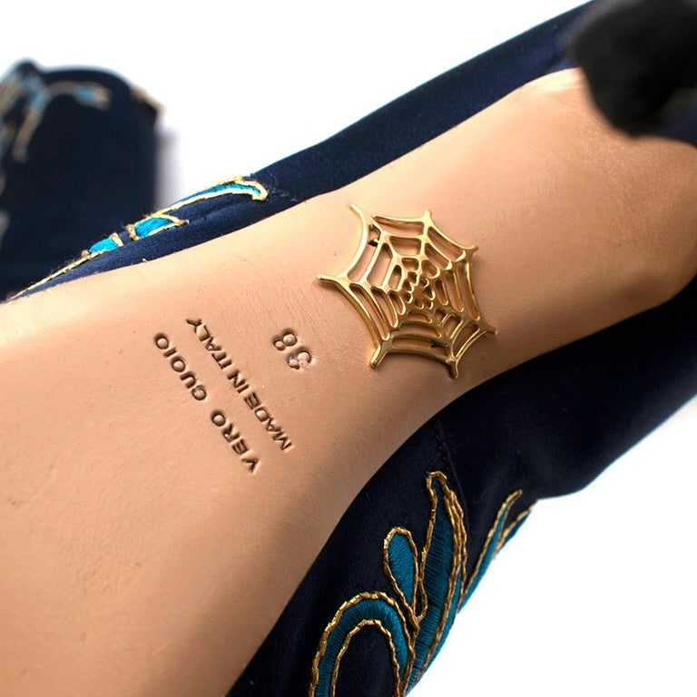 Charlotte Olympia Prosperity Blue & Gold Knee High Boots - Size EU 38 For Sale 5