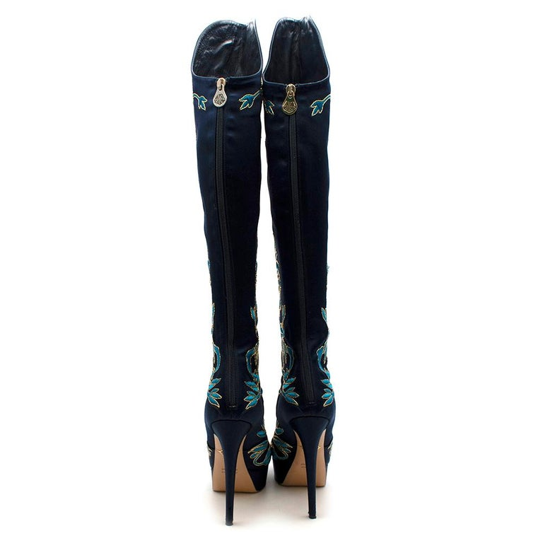 Black Charlotte Olympia Prosperity Blue & Gold Knee High Boots - Size EU 38 For Sale