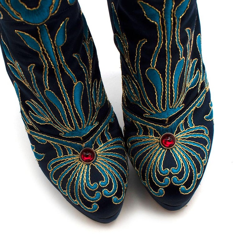 Women's Charlotte Olympia Prosperity Blue & Gold Knee High Boots - Size EU 38 For Sale