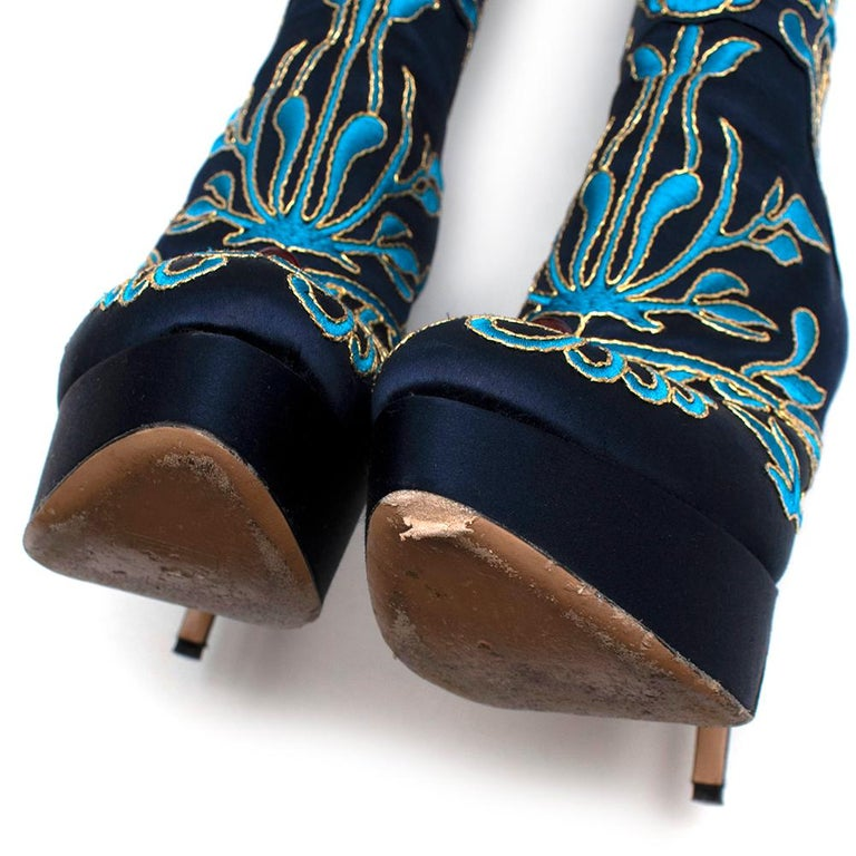 Charlotte Olympia Prosperity Blue & Gold Knee High Boots - Size EU 38 For Sale 3